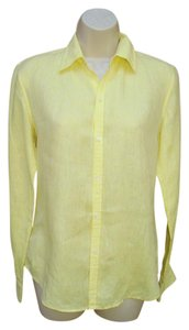 Ralph Lauren Black Label Linen Work Long Sleeve Button Front Button Down Shirt Yellow