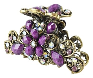 Rhinestone Sparkly Faceted Oval Stone Brass Plated Hair Clip,