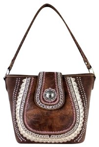 Montana West Conceal Pocket Tooling Tote in Brown