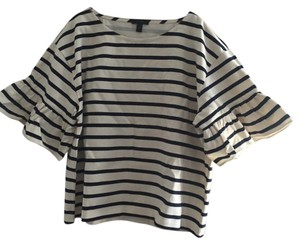 J.Crew Ruffle Striped Top Cream and Navy