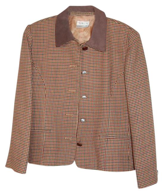 Item - Multicolor Made In Usa Wool Houndstooth Jacket Size 10 (M)