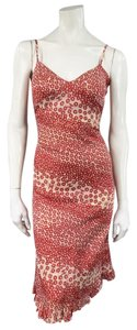 Red Maxi Dress by Chanel Floral & Beige Spring 2003 Ruffle Slip