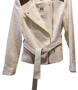 MICHAEL Michael Kors White and Brown leather Blazer