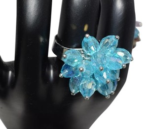 Cluster Fashion Night Glass Beads Crystal Cocktail Ring