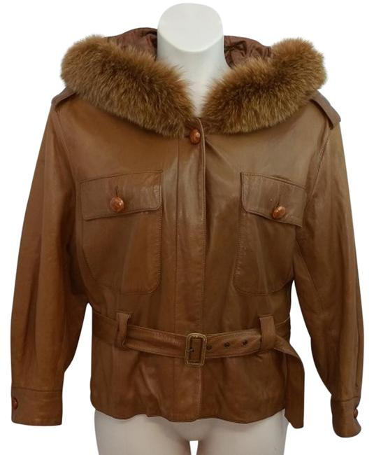 Item - Paris Fox Fur Trim Hooded Brown Leather Belted Jacket Size 6 (S)