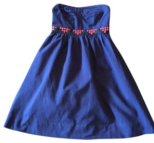 Floreat short dress Navy blue, coral on Tradesy