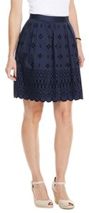 Vineyard Vines Laser Cut Floral Velvet Delicate Skirt Nautical Navy