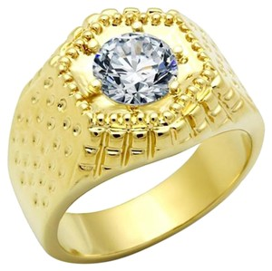 Other Men Brass Ring IP Gold(Ion Plating)AAA Grade CZ Clear