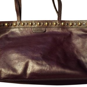 Gucci Vintage Studded Tote in Brown