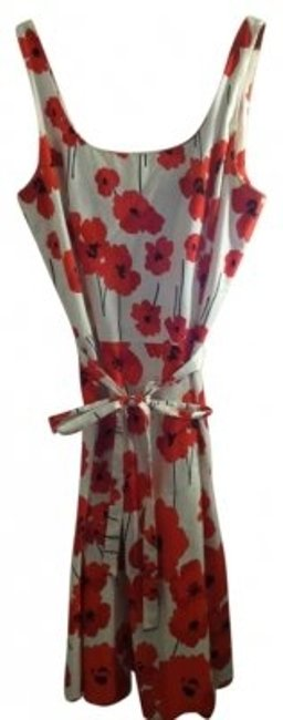Item - Red Black White Poppy Printed Knee Length Work/Office Dress Size 14 (L)