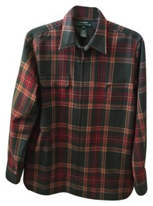 Ralph Lauren Wool Zipper Close Button Down Shirt Multi/Plaid