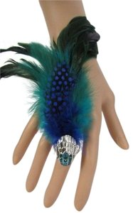 Other New Women Fashion Ring Feathers Blue Metal Silver Bird Head Elastic