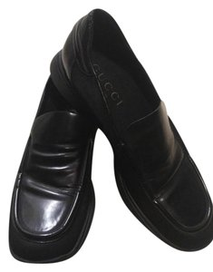 Gucci Leather Vinyl Loafers Black Formal