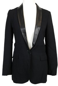 Gucci Jacket W/leather Collar 351455 Black Blazer