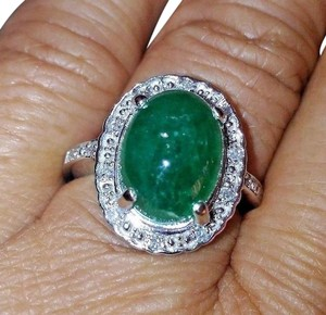 SALE*4.96CT NATURAL UNTREATED EMERALD&DIAMOND 14k GOLD RING