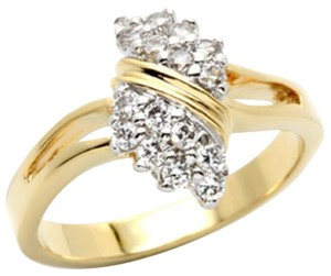 Two-Tone Gold+Rhodium Women AAA Grade CZ Clear