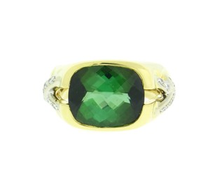 Tiffany & Co. Tiffany & Co diamond & green tourmaline X ring 18k 2 tone gold