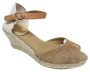 Kanna Espadrille Suede Leather Woven Casual Beige Wedges