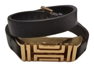 Tory Burch TORY BURCH Black & Gold Fit Bit Flex Leather Bracelet