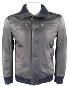 Bottega Veneta Unisex Button Up Ribbed Zip Navy Blue Leather Jacket