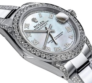 Rolex Women's 26mm s/s Oyster Perpetual Datejust Diamonds White Tone Roman