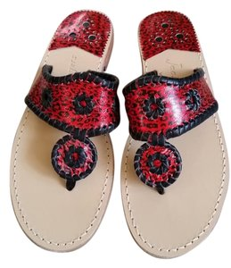 Jack Rogers Rodgers Red and Black Sandals