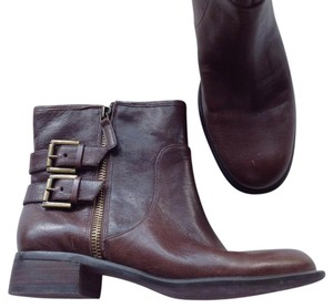 Nine West Leather Ankle Zip brown Boots