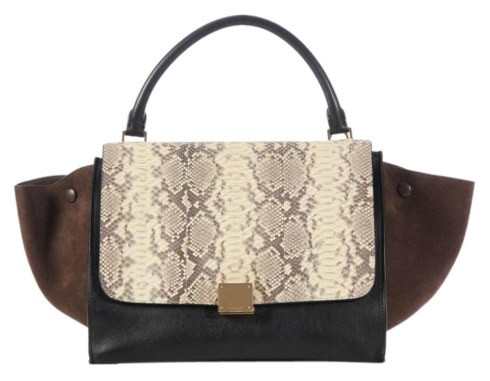 Céline Trapeze Small Tricolor Brown Natural And Black Python Skin ... 86bbf4f339bd5