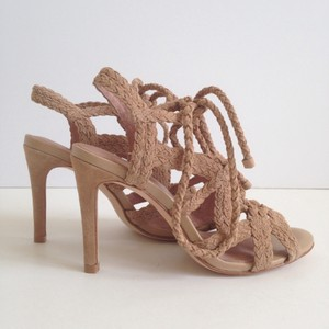 Joie Tonni Lace Up Suede Beige Sandals