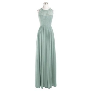 J.Crew Dusty Shale Megan Long Dress In Silk Chiffon Dress
