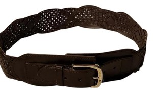 Coldwater Creek Coldwater Creek Ashbury Brown Genuine Leather Fashion Braided Belt