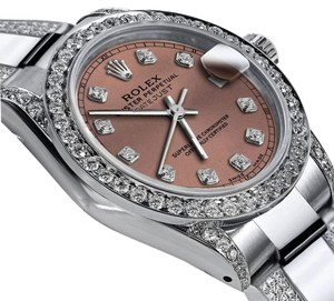 Rolex Ladies 31mm Oyster Perpetual Datejust Diamonds Salmon Color Dial