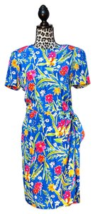 Blue with Pink, Green, Yellow, Red Floral Maxi Dress by Talbots
