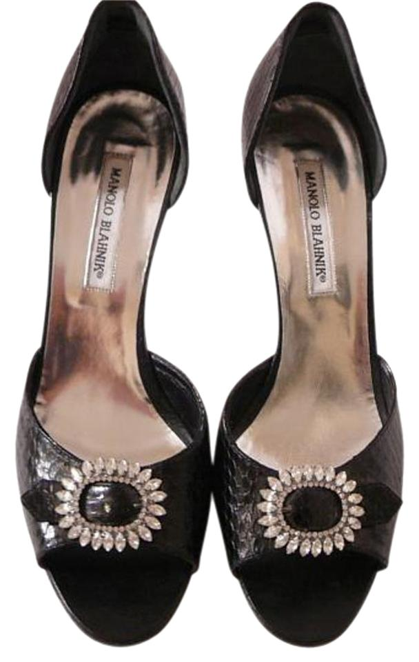 Manolo Blahnik New Black New Blahnik Python Crystal Pumps 02a868