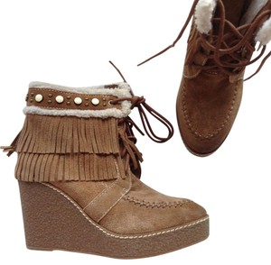Sam Edelman Ankle Studded Wedge Suede tan brown Boots