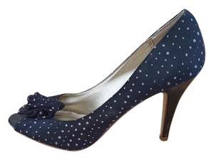 Fioni Polka Dot Blue and Pink Pumps