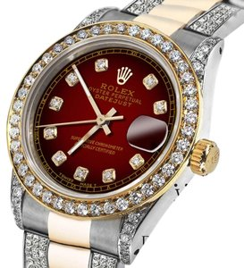 Rolex Women's 31mm Oyster Perpetual Datejust Red set Diamonds Dial Accent