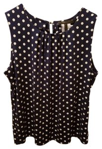 BCBGMAXAZRIA Top Navy Blue, white polka dots