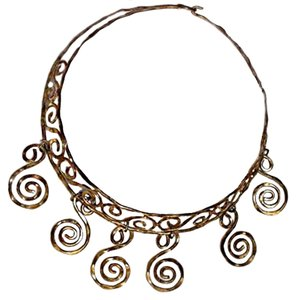 Greek Museum GOLD HAMMERED GREEK NECKLACE-HAND MADE WROUGHT IRON-ETNIC DESIGN