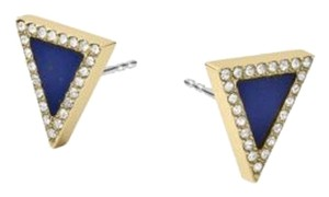 Michael Kors MICHAEL KORS Gold Tone Triangle Lapis Stud Earrings MKJ4252
