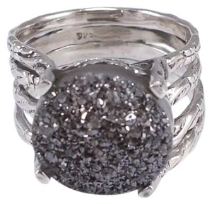 New 925 Sterling Silver Black Druzy Ring Sz 8