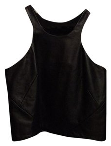 Jonathan Saunders Leather Sleeveless Top Black