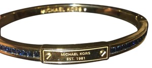 Michael Kors Blue Pave Crystals Gold Bangle