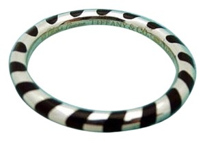 Tiffany & Co. Size 5, Sterling Silver, Black Enamel, Stacking Ring, Band