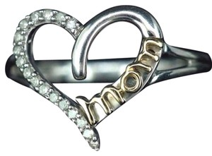 Other Size 7, Sterling Silver, 14k Yellow Gold, diamond, Heart Shaped Ring