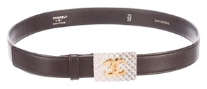 Chanel Black leather Chanel gold tone interlocking CC waist belt