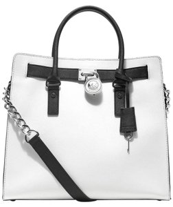 Michael Kors Saffiano Leather Tote in Optic White Black/Silver Hardware