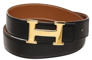Herms Hermes Black Box and Gold Epsom Leather Constance Belt (Size 85)
