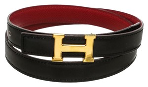 Hermès Hermes Black and Red Leather Mini Constance H Belt (Size 70)