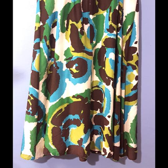 on sale Banana Republic Blue, Green, Brown Multicolor V-neck Swirly Pattern Dress - 73% Off Retail